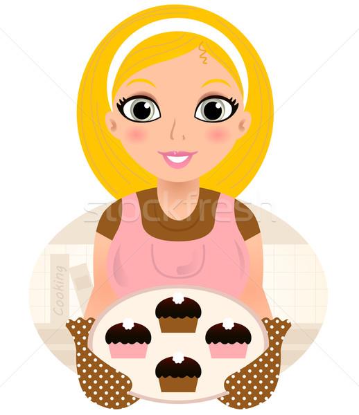 レトロな 料理 ブロンド 女性 甘い食べ物 ストックフォト © lordalea