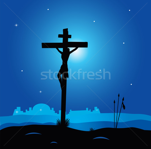 Easter Calvary Scene With Cross In Dark Night  Stock photo © lordalea