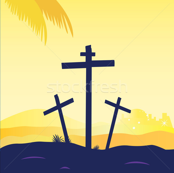 Calvary sunset scene with crosses. Jesus crucifixion. Vector Illustration. Stock photo © lordalea