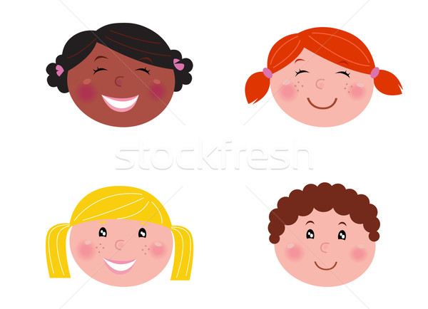 Multicultural children heads - isolated on white