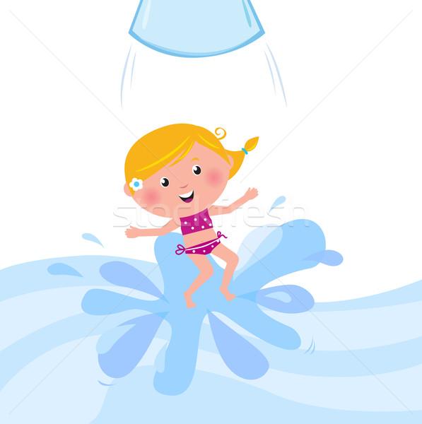 幸せ 笑みを浮かべて 子供 ジャンプ ウォータースライド 管 ストックフォト © lordalea