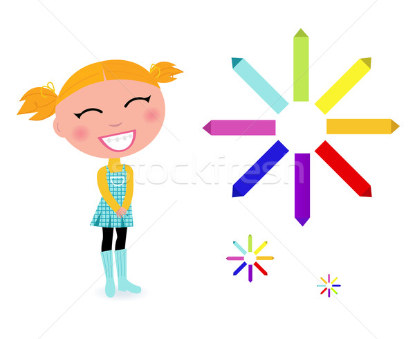 School girl with rainbow pastel pencils isolated on white Stock photo © lordalea