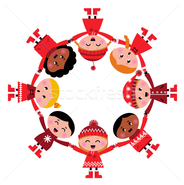 Cute christmas multicultural children in circle isolated on whit Stock photo © lordalea