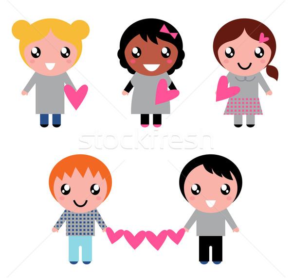 Aranyos gyerekek gyűjtemény szív formák izolált Stock fotó © lordalea