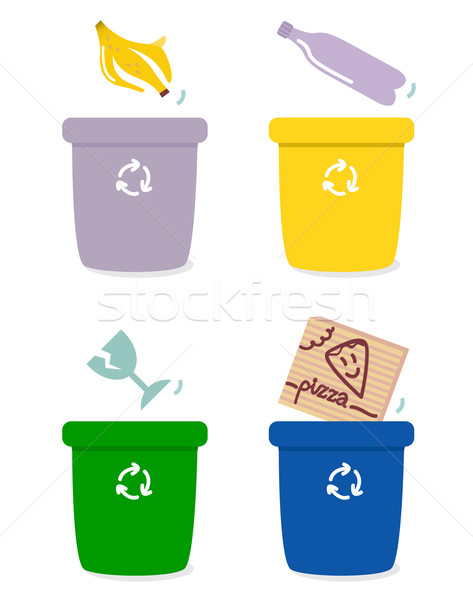 çöp ayırma kutuları renkler yalıtılmış beyaz Stok fotoğraf © lordalea