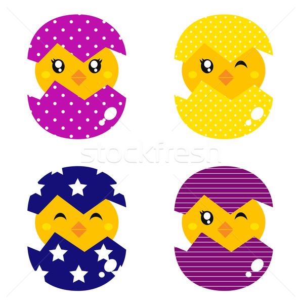 Foto stock: Primavera · pollo · huevos · establecer · cute · aislado