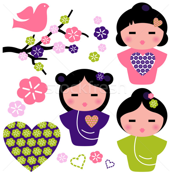 Japão amor gueixa floral elementos conjunto Foto stock © lordalea