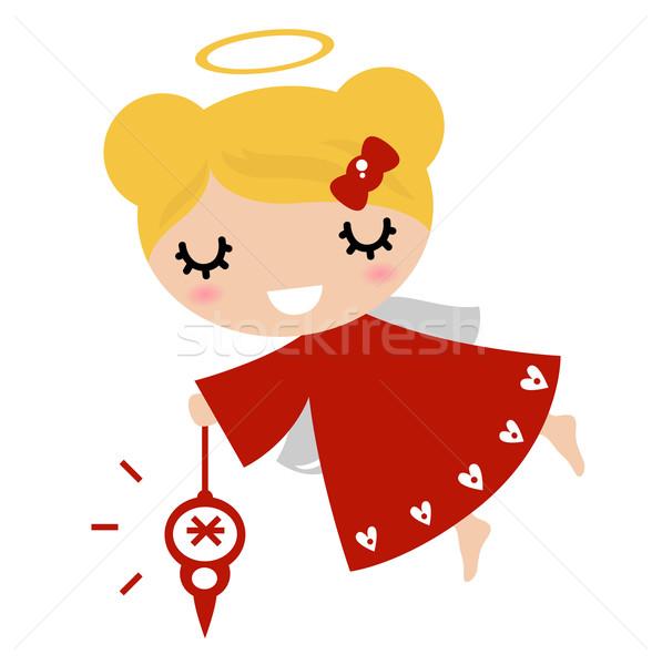 Foto stock: Adorable · ángel · nina · navidad · decoración · rojo