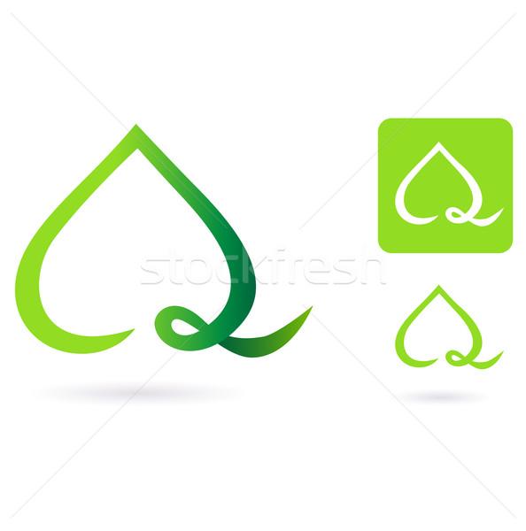Stock fotó: Természet · szív · levél · ikon · alakú · zöld · levél