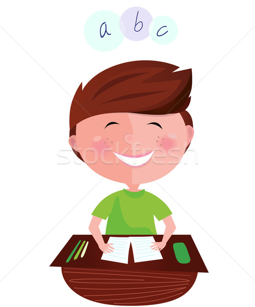 Vissza az iskolába boldog mosolyog tanul fiú angol Stock fotó © lordalea