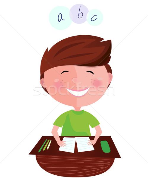 De volta à escola feliz sorridente aprendizagem menino inglês Foto stock © lordalea