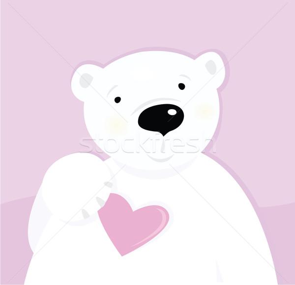 Stockfoto: Ijsbeer · liefde · hart · cute · karakter · roze
