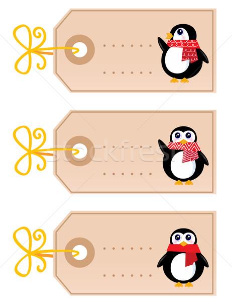 Stok fotoğraf: Sevimli · Noel · penguen · yalıtılmış · beyaz