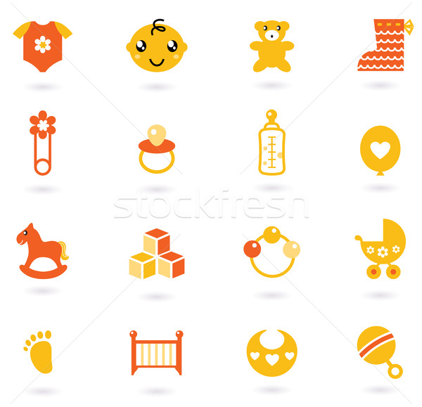 Vector orange Icons collection for baby isolated on white Stock photo © lordalea