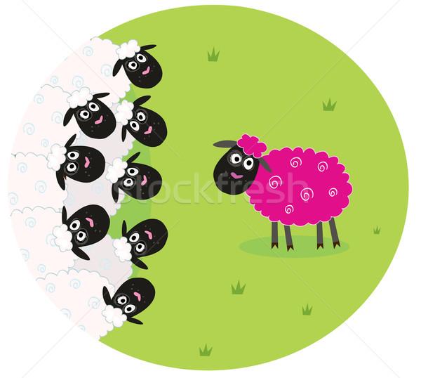 один розовый овец стилизованный семьи различный Сток-фото © lordalea