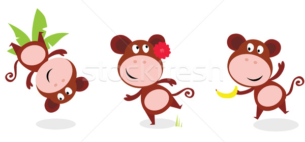 Safari Animals: Brown Cute Monkey Poses Isolated On White Stock photo © lordalea