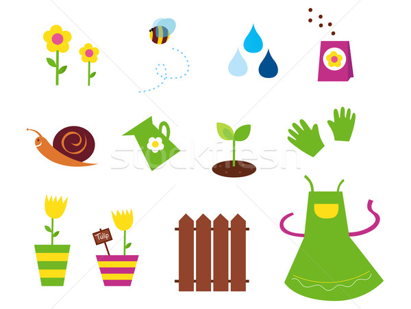 Spring, garden & agriculture symbols and elements - green, yellow, pink  Stock photo © lordalea