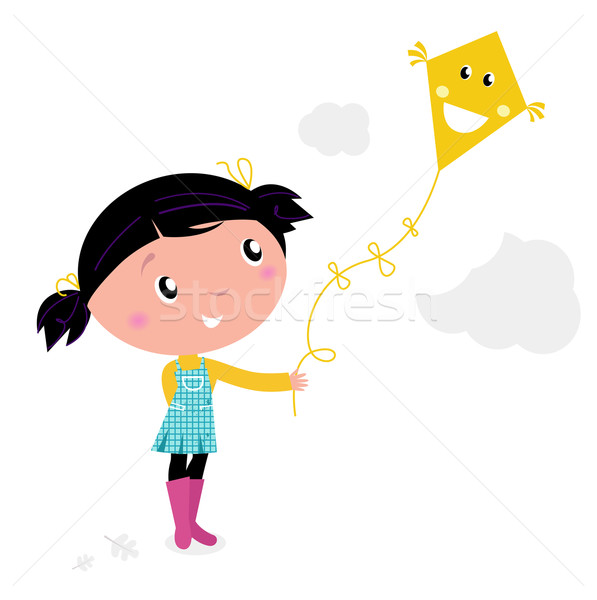 Little cute kid flying kite isolated on white Stock photo © lordalea