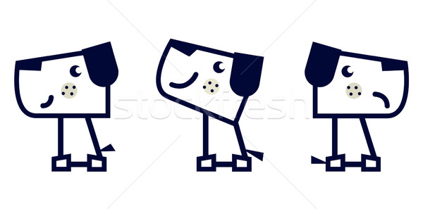 Simple geometric dog set isolated on white Stock photo © lordalea