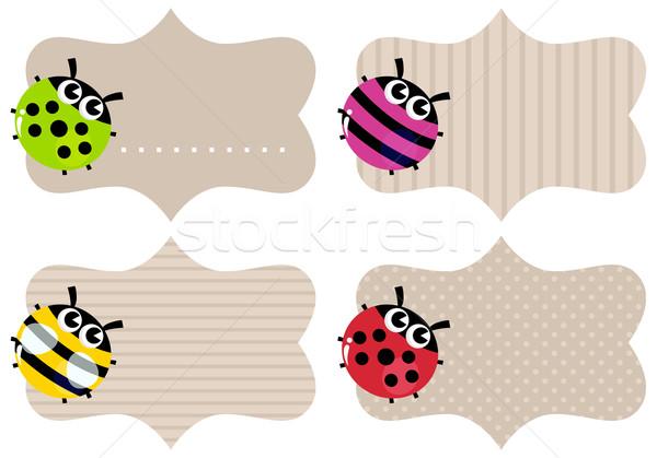 üres papír címkék szett színes bogarak ár Stock fotó © lordalea