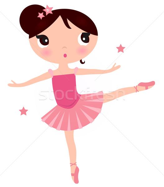 ストックフォト: かわいい · ピンク · バレリーナ · 少女 · 孤立した · 白