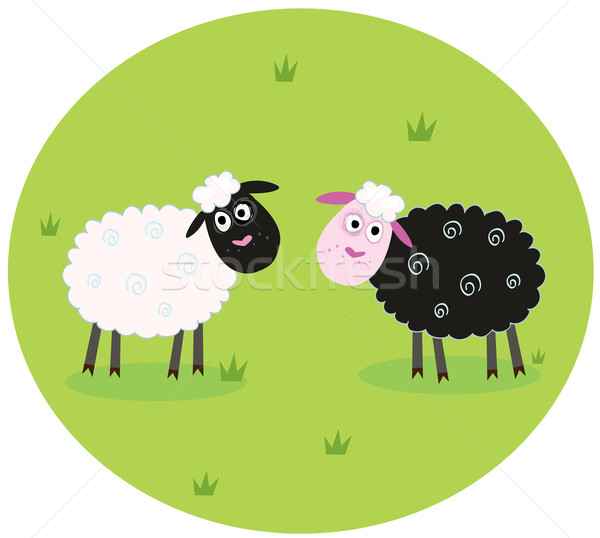 Black And White Sheep  Stock photo © lordalea