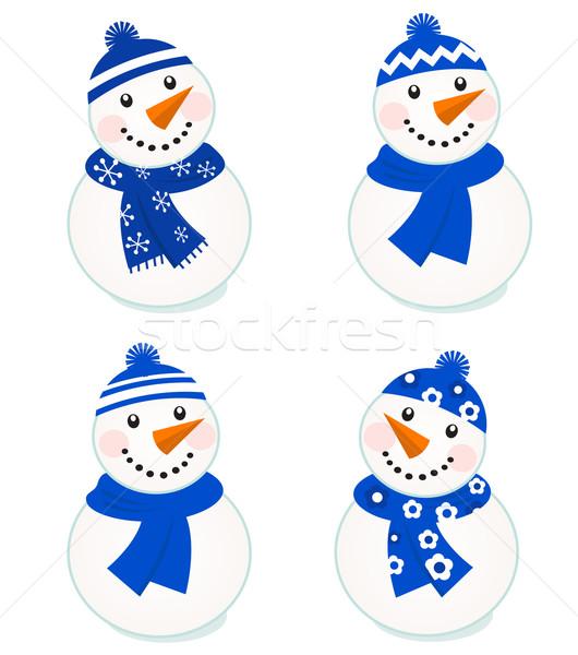 Cute vector collectie geïsoleerd witte Blauw Stockfoto © lordalea