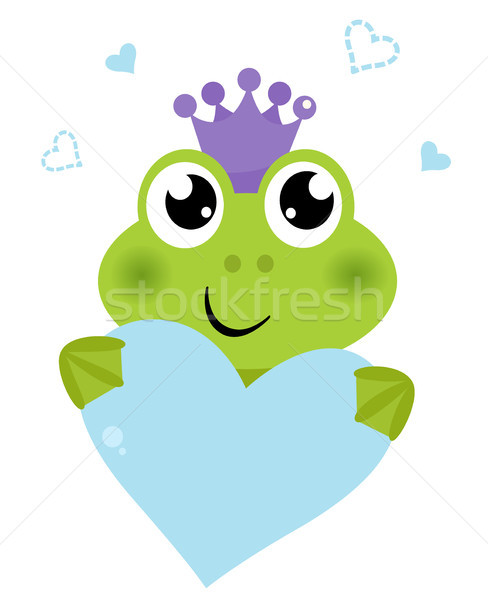 Cute frog holding Heart isolated on white Stock photo © lordalea