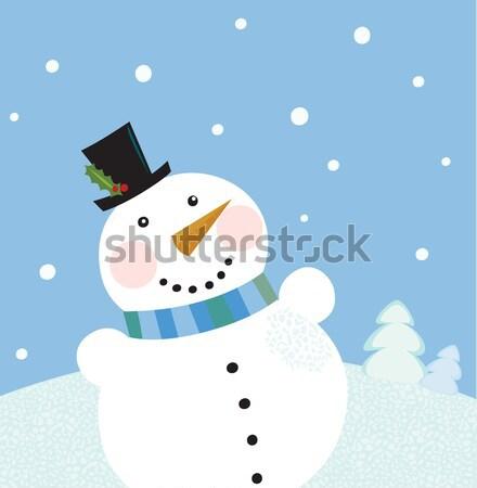 Stok fotoğraf: Noel · tatil · kardan · adam · sevimli · kırmızı · vektör