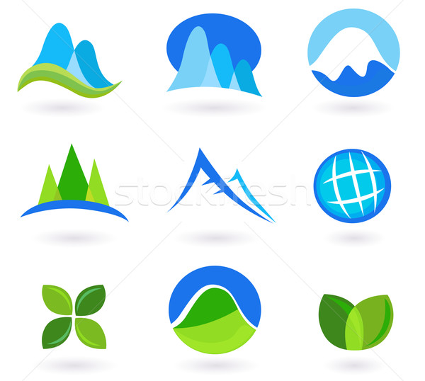 Nature, Mountain And Turism Icons - Blue And Green  Stock photo © lordalea