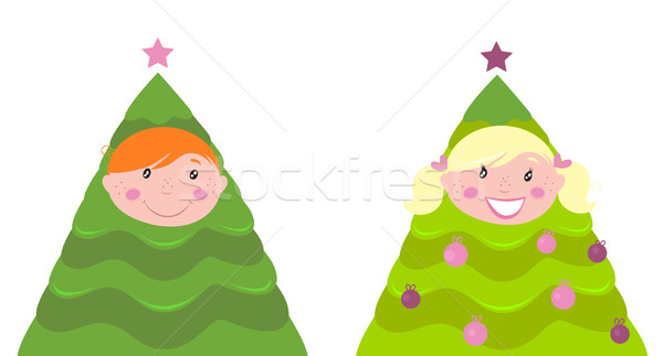 Christmas cute kid tree costume ( boy and girl )  Stock photo © lordalea