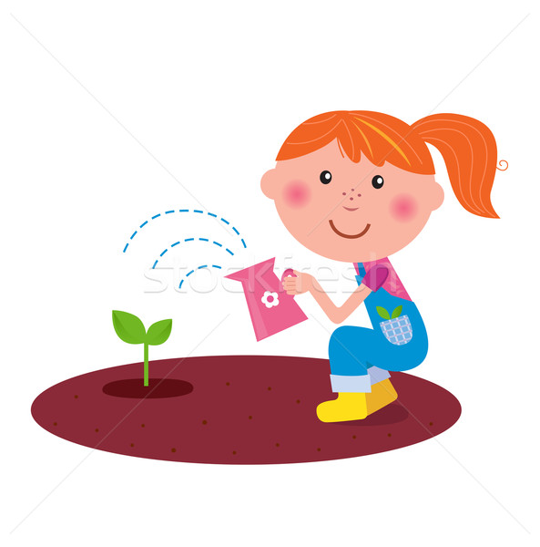 Small gardener girl watering plant in the garden  Stock photo © lordalea