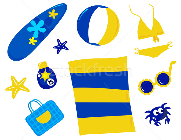 Summer and beach icons and accessories - retro ( yellow and blue Stock photo © lordalea