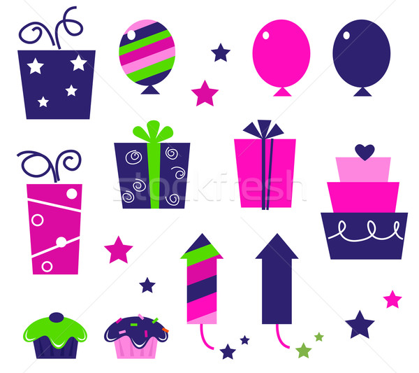 Stock photo: Birthday party icons and elements isolated on white - pink, blue