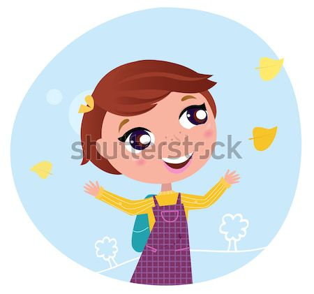 Cute Octoberfest Girl in traditional Clothes juggling with icons Stock photo © lordalea