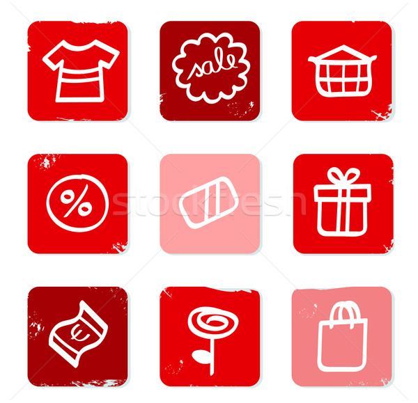 Retro Sale and shopping icons for eshop isolated on white Stock photo © lordalea