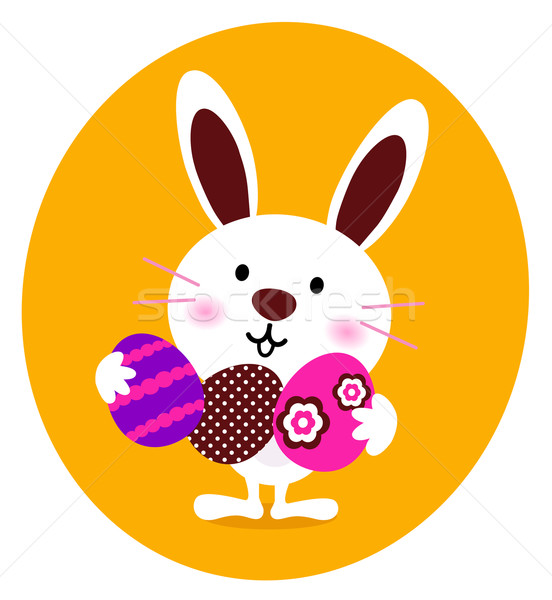 Cute Bunny holding easter eggs Stock photo © lordalea