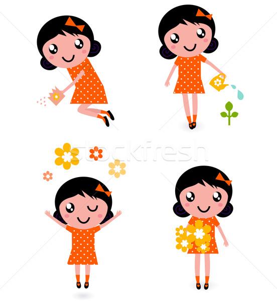 Cute little gardener Girl set ( retro ) Stock photo © lordalea