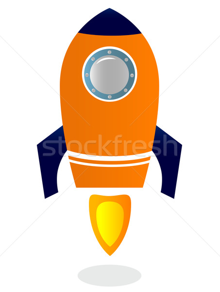Rocket Ship isolated on white ( blue & orange ) Stock photo © lordalea