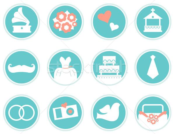 Boda iconos estilo retro aislado blanco azul Foto stock © lordalea