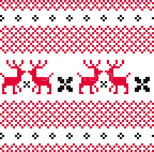 Norvég díszítő karácsonyi minta piros fehér végtelen minta Stock fotó © lordalea