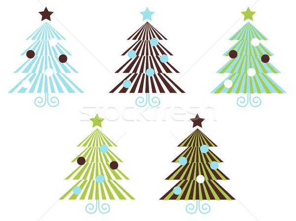 Retro Patterned vector Christmas Trees isolated on white Stock photo © lordalea