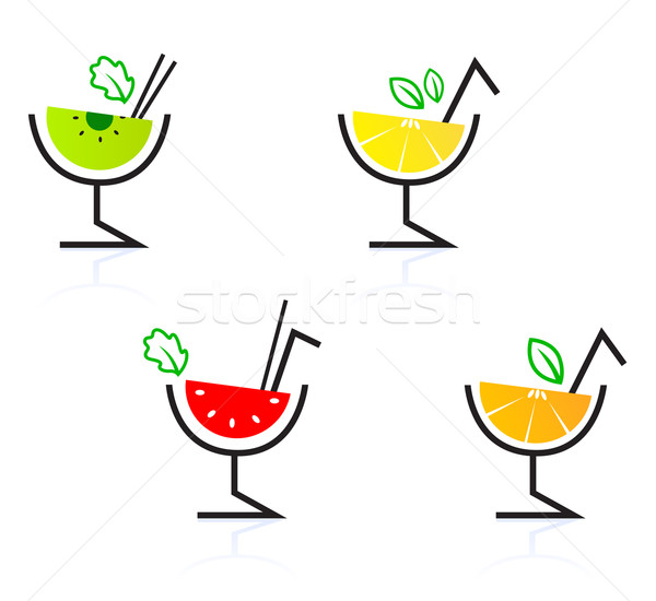 Colorful mixed fruit retro drinks / cocktail isolated on white 