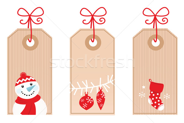 Stockfoto: Retro · christmas · geschenk · geïsoleerd · witte