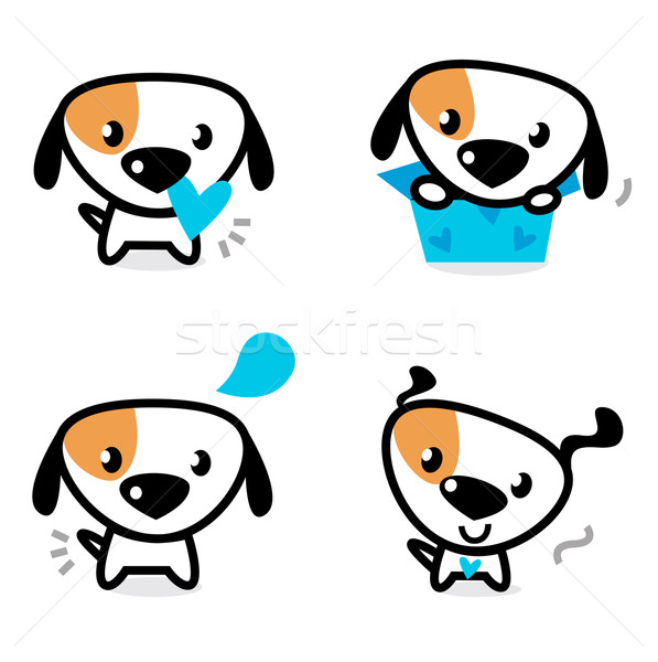 Cute blue valentine dogs set isolated on white Stock photo © lordalea