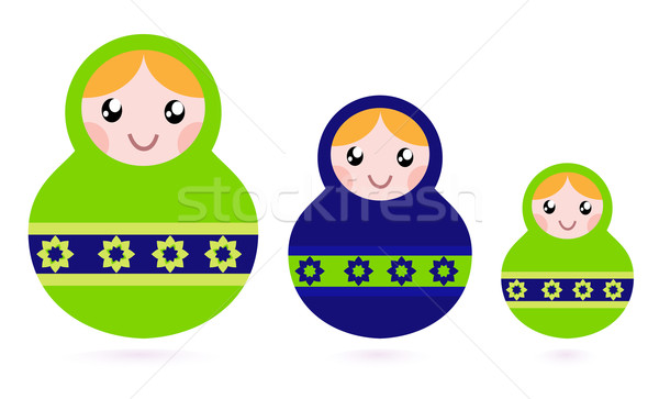 Matryoshka dolls family set isolated on white Stock photo © lordalea