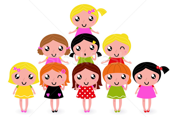 Happy little girls group isolated on white Stock photo © lordalea