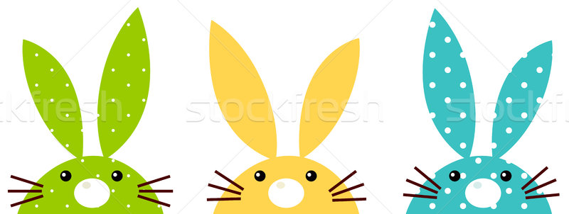 Cute colorful patterned bunny set isolated on white Stock photo © lordalea