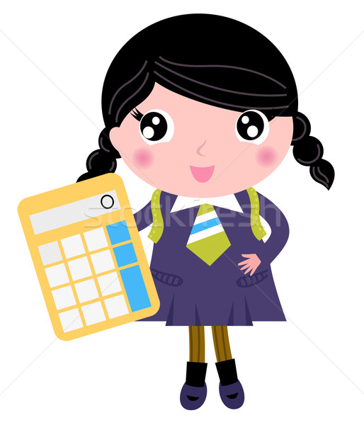 Beautiful school girl with calculator isolated on white Stock photo © lordalea
