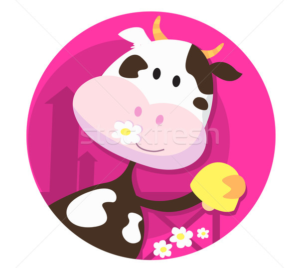 Happy Cow Character With Bell - Farm Animal  Stock photo © lordalea